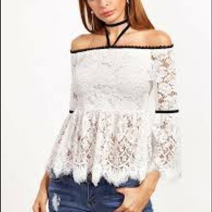 NWT Banjul lace off shoulder blouse size small